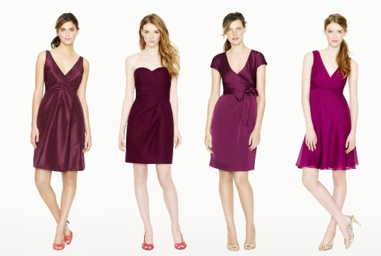 Purple, burgundy, bridesmaid dresses, J.Crew