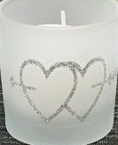 interlocking heart frosted votives