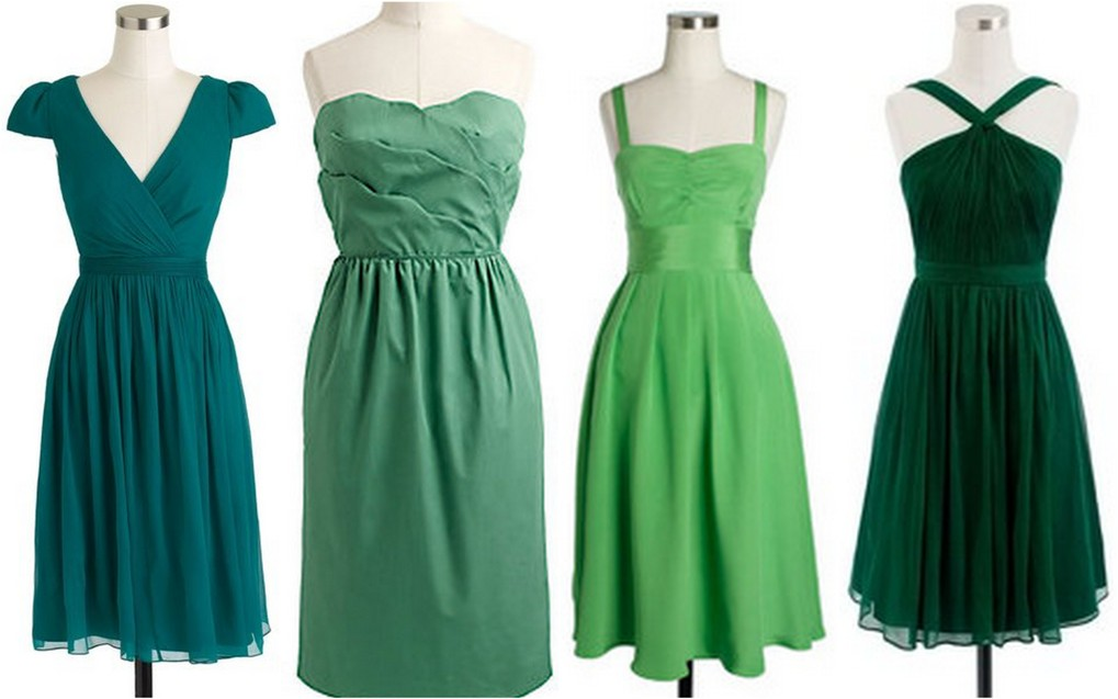 turquoise_sage_light green _hunter green bridesmaid dresses
