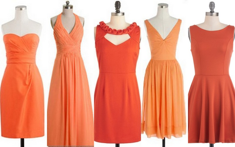Inspiration: Bridesmaid Dresses: Color: Nectarine