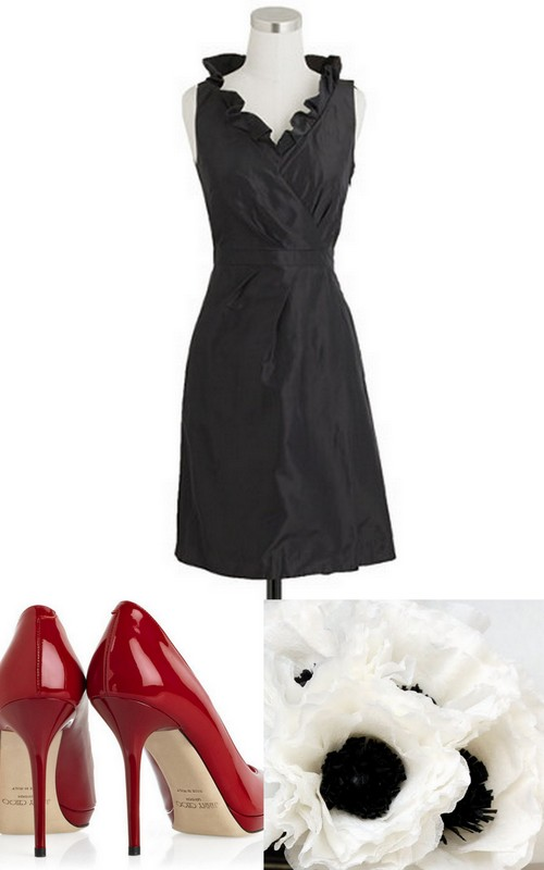 Style Inspiration and Design Lisa Sammons Events Black Bridesmaid Dress Inspiration JCrew Jimmy Choo