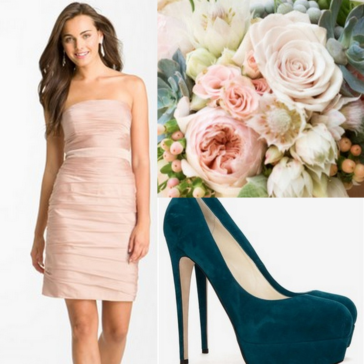 Monique Lhuillier Bridesmaid Dress, Brian Atwood Teal Pumps