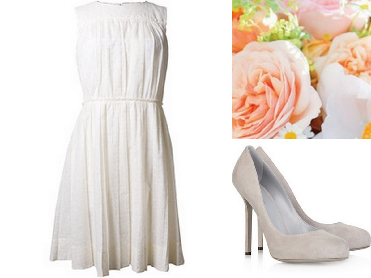 Simple Linen Neutral Bridesmaid Dress with Neutral Pump and Soft Coral Florals