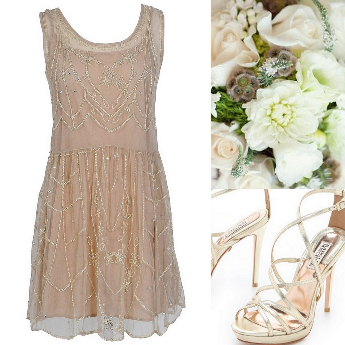 Style Inspiration Design Beige Beaded Dress With Gladiator Stry Sandal