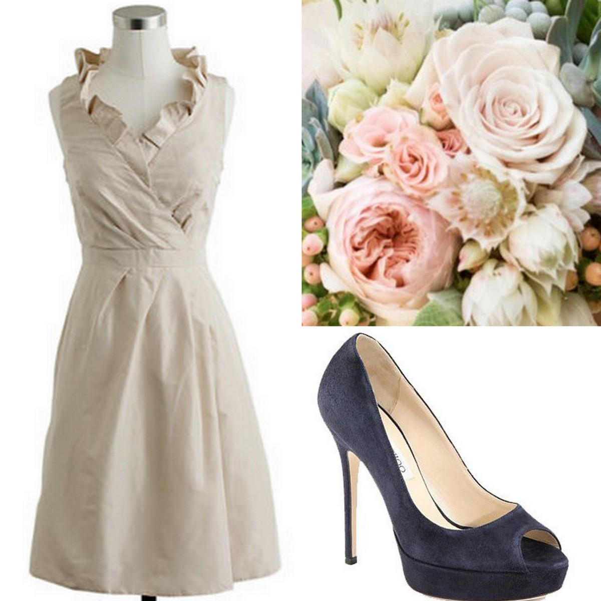 Style, Inspiration, & Design Beige J.Crew Flutter Neckline Bridesmaid dress with Navy Peeptoe Jimmy Choo and Blush, Light pink bouquet