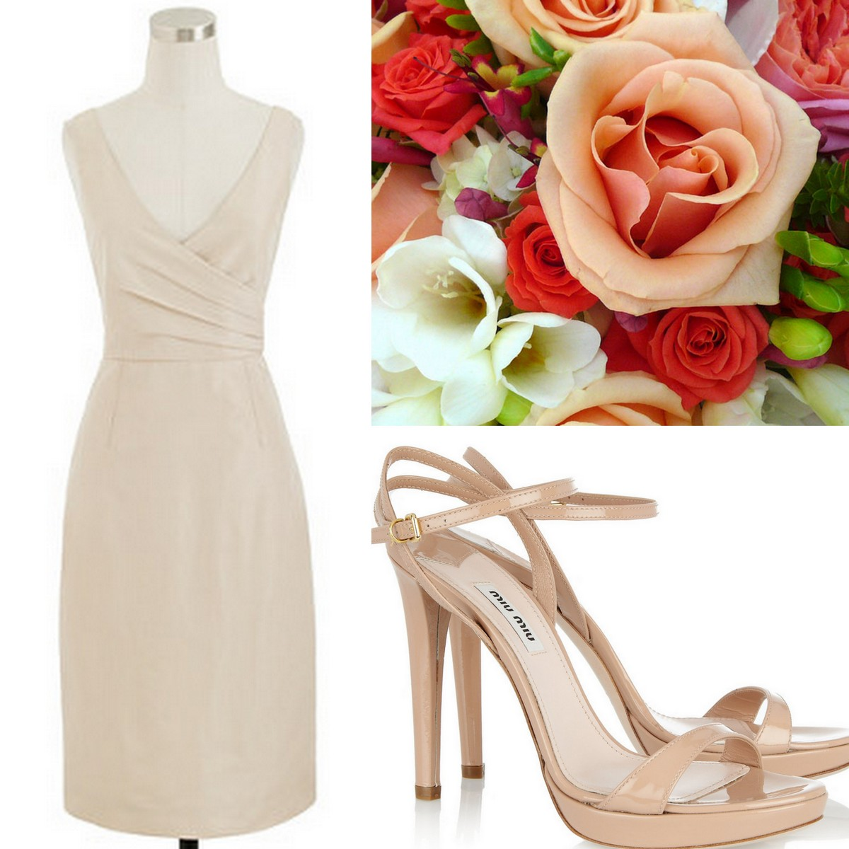 Style, Inspiration, & Design Beige J.Crew V-neck Bridesmaid dress with Miu Miu Strappy Sandal & Mixed Red and Coral Bouquet