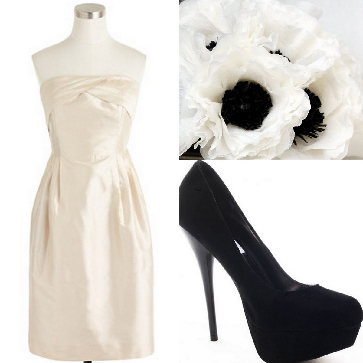 Style, Inspiration, & Design Beige Silk Duponi J.Crew Bridesmaid Dress with Black pumps & Anenome Bouquetl