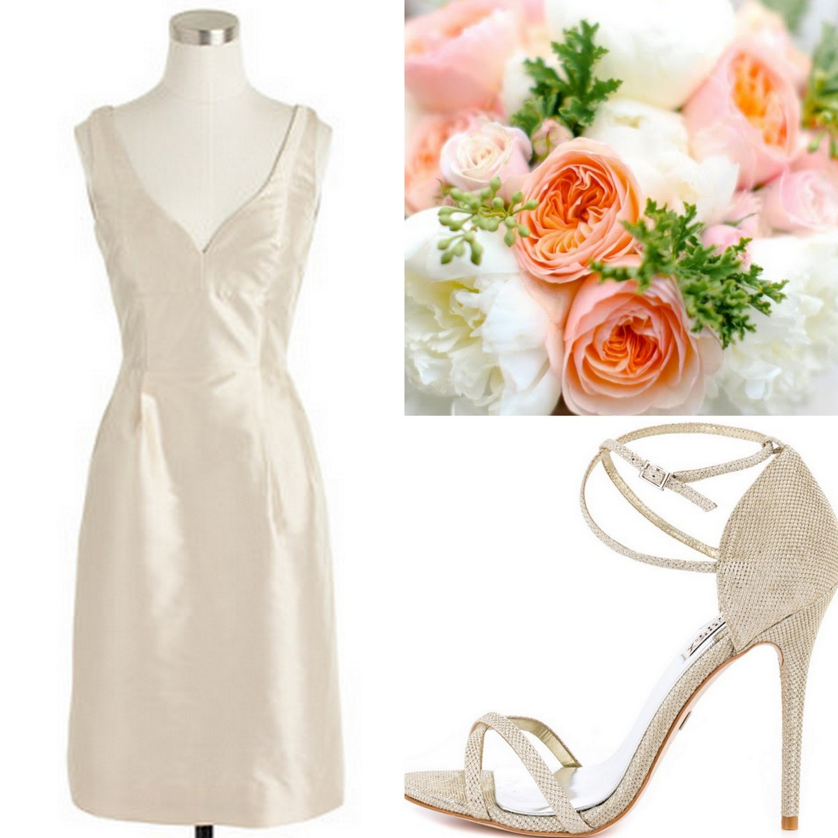 Style, Inspiration, & Design Beige Silk Duponi J.Crew Bridesmaid Dress with Neutral Strappy Sandal & Peach, Coral Bouquet