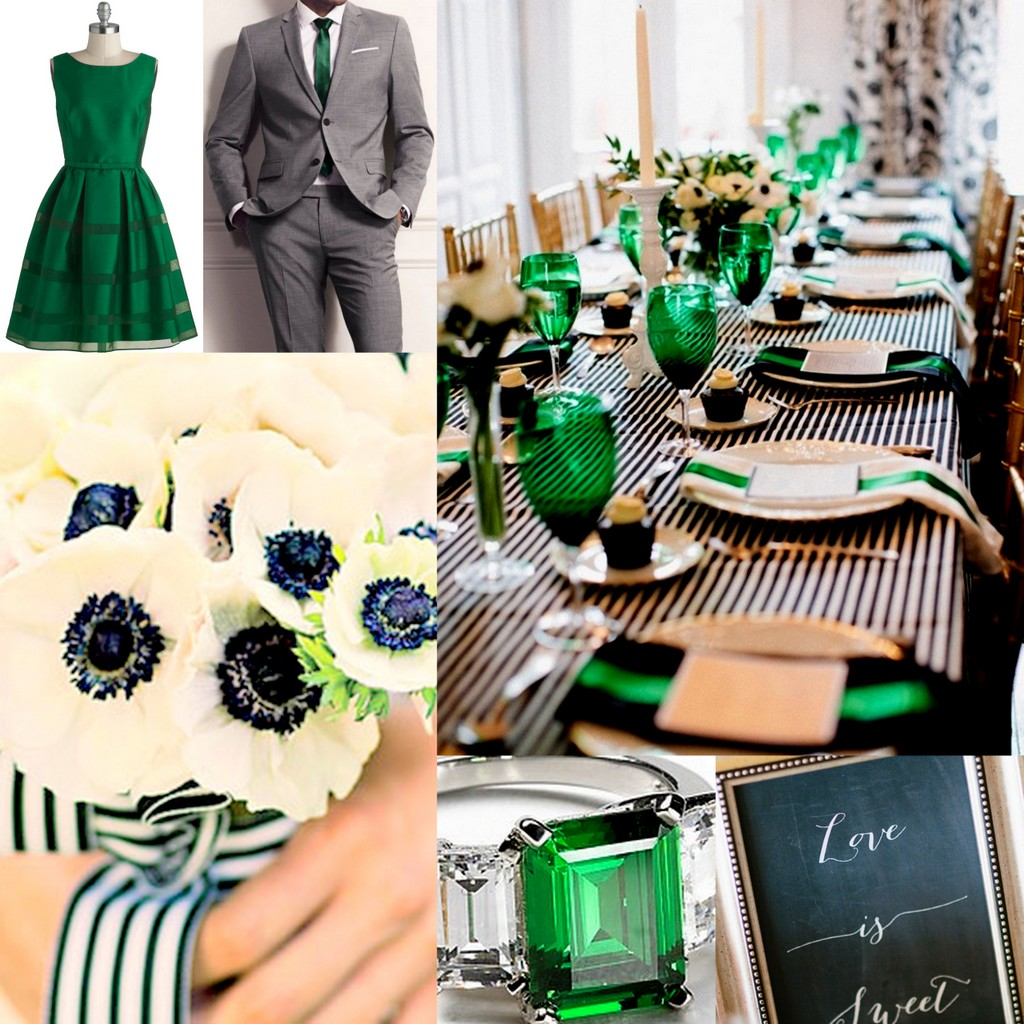 Wedding Theme White And Green: Emerald Green-Wedding Style-Inspiration And Design