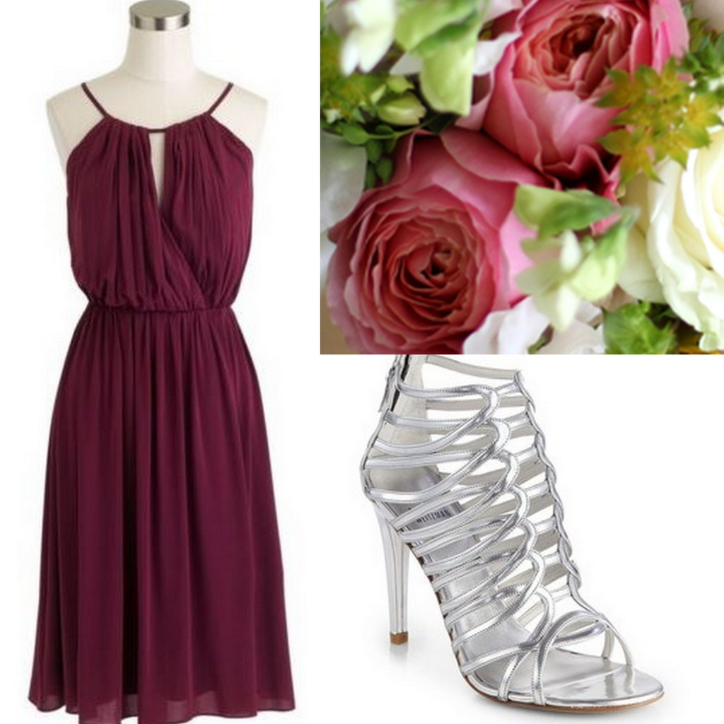 Cranberry-Red-Bridesmaid Dress Ideas-Lisa Sammons Events, J.Crew, Stuart Weitzman