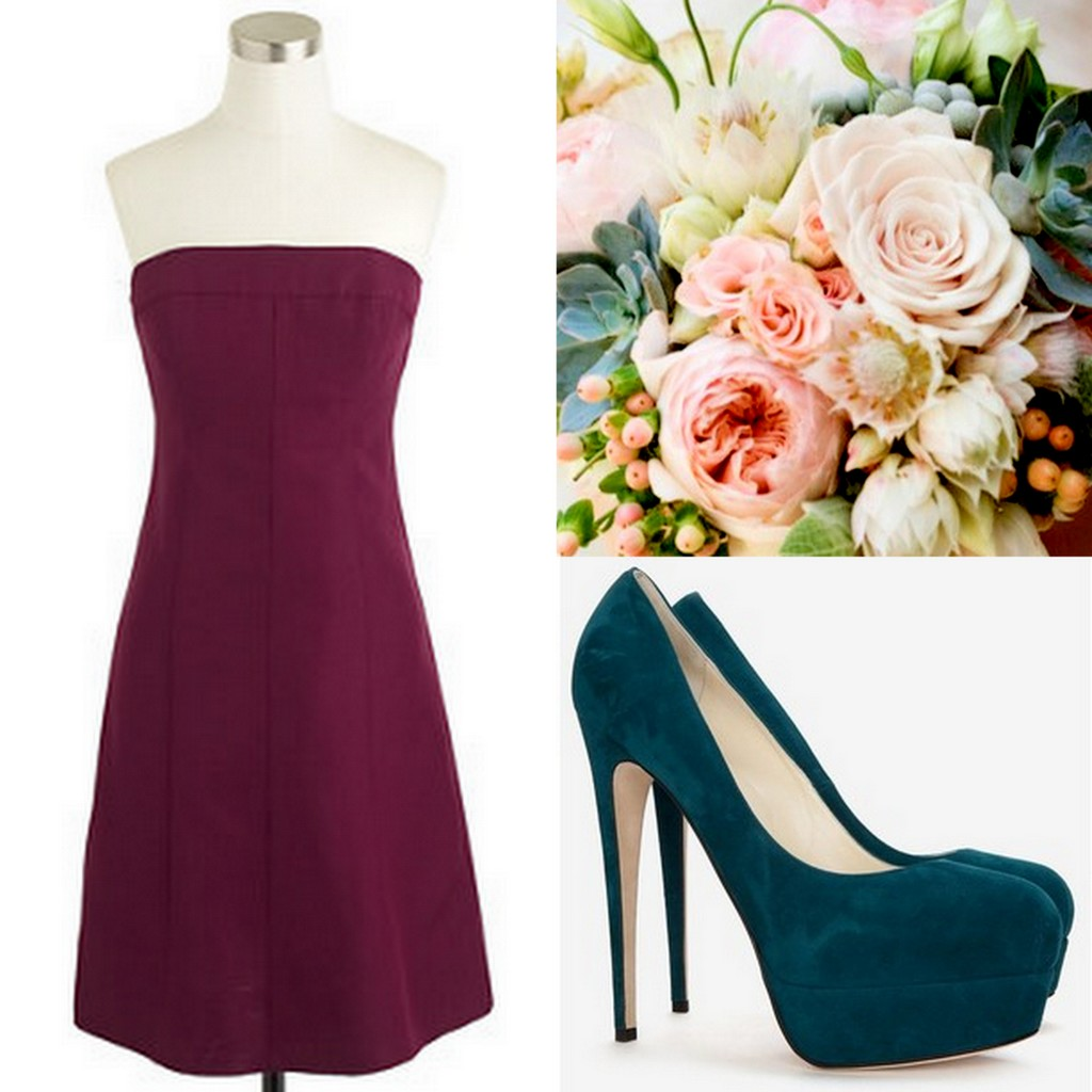 Cranberry-Red-Bridesmaid Dress Ideas-Lisa Sammons Events, J. Crew, Jimmy Choo