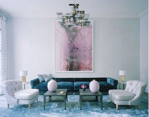 Teal Living Room Ideas, Pale Pink and White