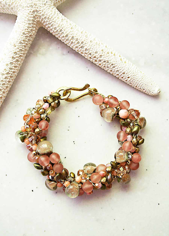 The New Castle Collection - Coral Colored bridesmaid Bracelet
