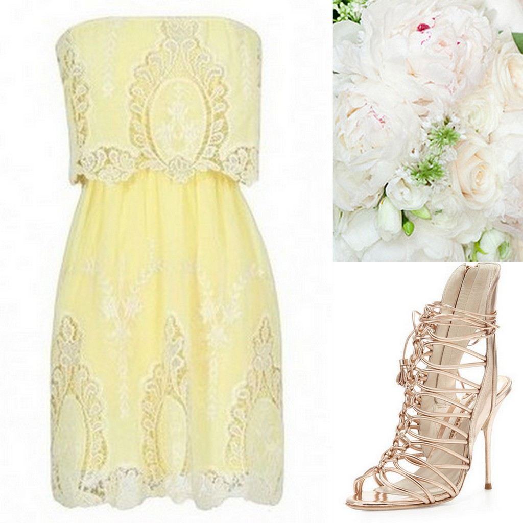 Yellow Bridesmaid Dresses, lace strapless dress, gold strappy sandals, white peony bouquet