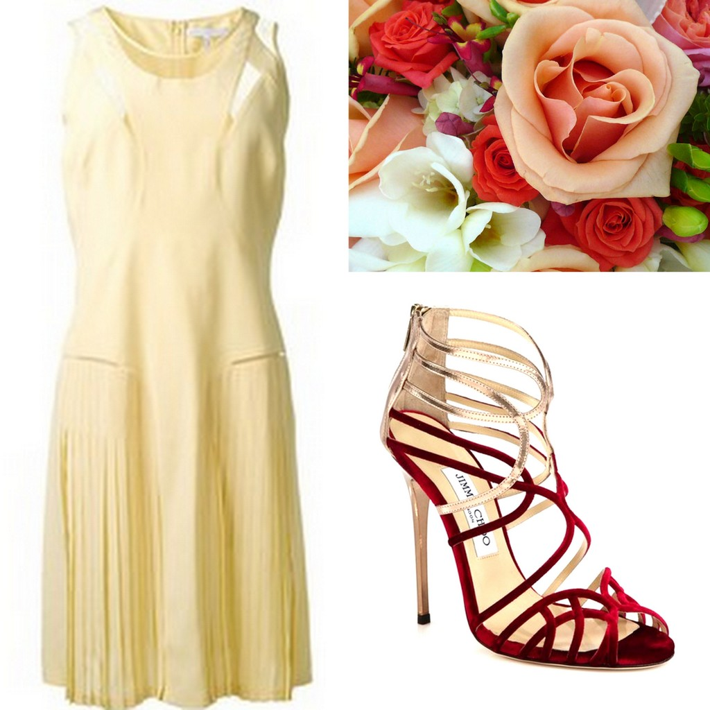 Yellow-Bridesmaid-Dress-Ideas-Victoria-Beckham-Jimmy-Choo-Strappy-Sandals-red-Lisa-Sammons-Events