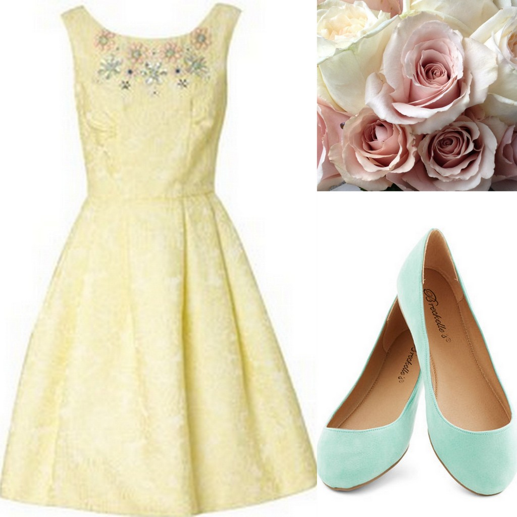 Yellow Bridesmaid Dresses, ModCloth, vintage, mint green flats, mint green, white and pink bouquet