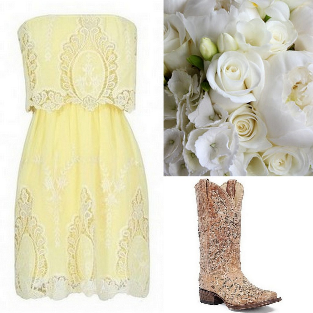 Yellow Bridesmaid Dresses, lace strapless dress, cowboy boots, pink bouquet