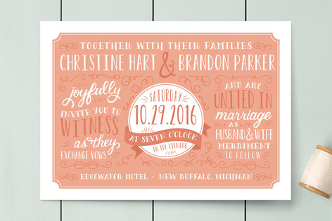 Minted Coral Wedding Invitations - Lisa Sammons Events