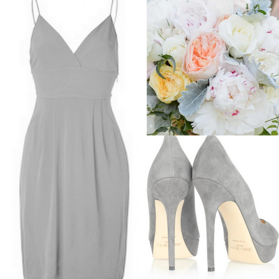 Gray Bridesmaid Dress ideas for any season wedding with bouquets & shoes