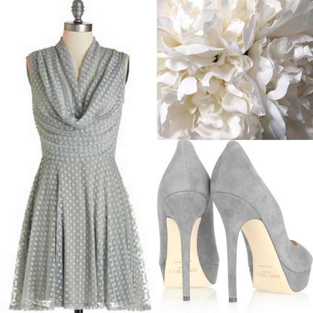 Gray Bridesmaid Dress ideas for any season wedding with bouquets & shoes - Lisa Sammons Events