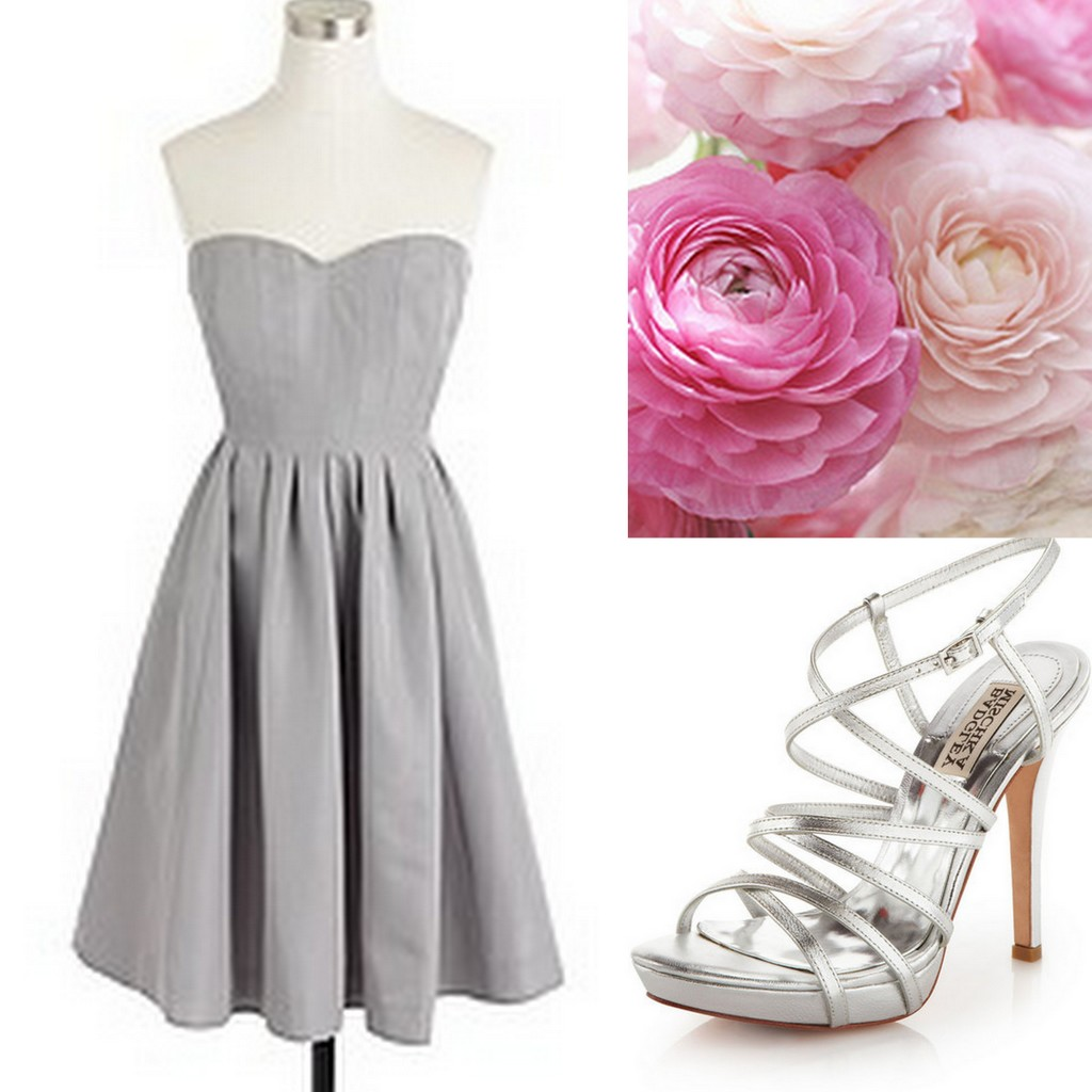 Gray Bridesmaid Dress ideas with bouquets & shoes - Lisa Sammons Events