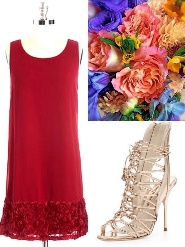 Aurora:Holiday: Red:Bridesmaid Dresses: Ideas! Real Wedding Planners from Lisa Sammons Events put together some cute looks for bridesmaids with bouquets & shoes