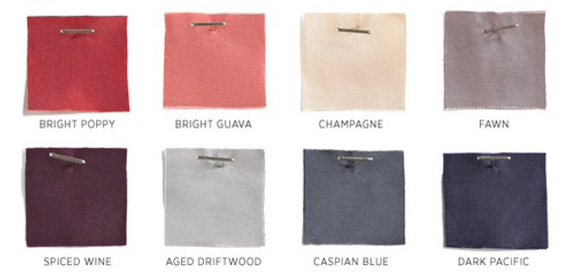 Tafetta Swatches- J. Crew. Lisa Sammons Events